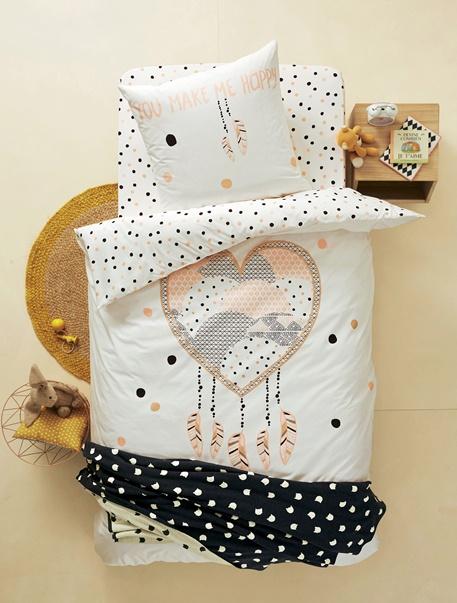 Duvet cover pillowcase set heart dreamcatcher theme for Vertbaudet housse couette