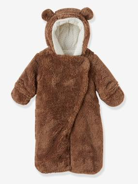 Baby clothing 0-18 months, newborn boy clothing, baby boy fashion clothes - Vertbaudet-Baby-Newborn Faux Fur Convertible Snowsuit