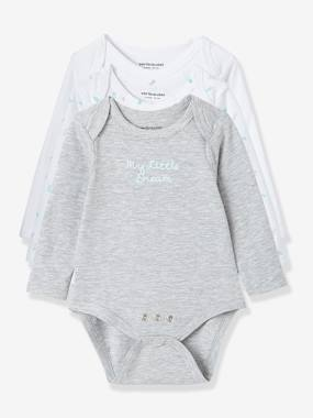 Baby-Bodysuit-Baby Pack of 3 Adaptable Bodysuits, Stretch Cotton, Long Sleeves. Fish Motif