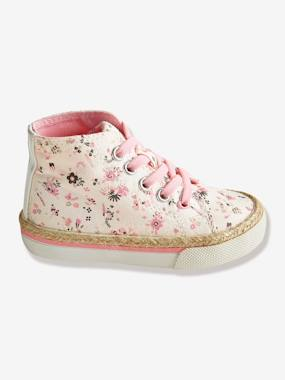 Shoes-Baby Footwear-Baby Girl walking 19-26-Girls Canvas High-Top Trainers