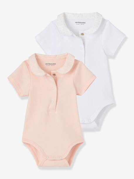 Pack of 2 Baby Bodysuits with Peter Pan Collar Pale pink - vertbaudet enfant