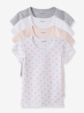 Girl-Underwear-Pack of 4 Short-Sleeved T-shirts