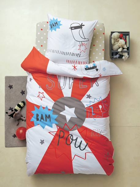 Reversible Duvet Cover + pillowcase, Superhero Theme White/red - vertbaudet enfant