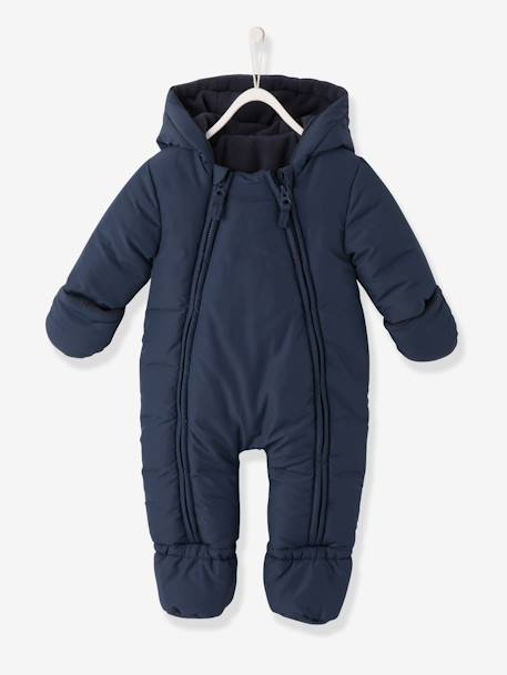Convertible Baby Snowsuit GREY DARK SOLID+Ink+WHITE LIGHT ALL OVER PRINTED - vertbaudet enfant