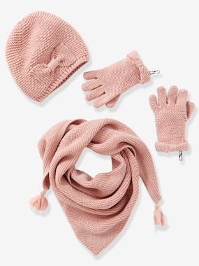 New Collection Fall Winter - Vertbaudet | Quality French Clothes for Babies & Children-Girl-Girls' Hat, Scarf& Mittens or Gloves Set