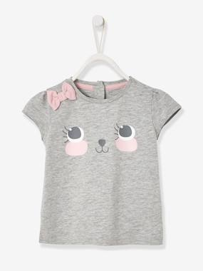 New Collection Fall Winter - Vertbaudet | Quality French Clothes for Babies & Children-Baby-Baby T-shirt with Motif & Bow
