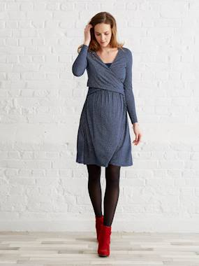New collection-Maternity-Adaptable Maternity & Nursing Wrapover Dress