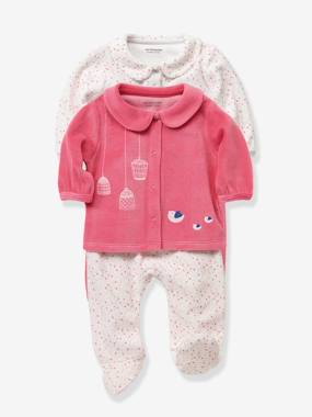 Baby girl clothing 3-36 months, baby girl fashion clothes - Vertbaudet-Baby-Pack of 2 Baby 2-Piece Velvet Pyjamas