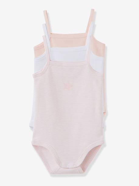 Pack of 3 Coloured Pure Cotton Babysuits With Thin Straps Pale pink - vertbaudet enfant