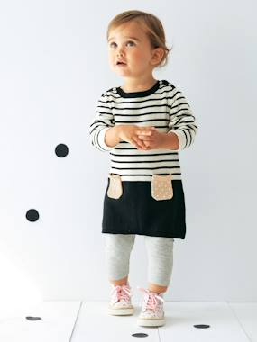 Navy spirit - Vertbaudet Fashion specialist for kids and baby : clothing, shoes and accessories-Baby Striped Knitted Dress