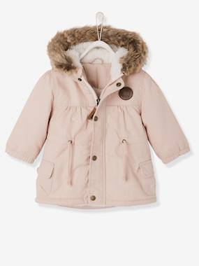 Baby-Coat, all-in-one, sleepbag-Baby Girls' Padded Parka with Lining