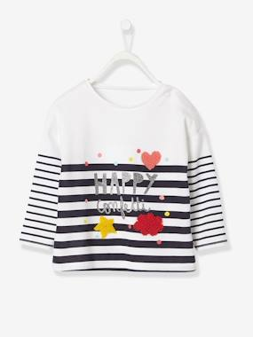 New Collection Fall Winter - Vertbaudet | Quality French Clothes for Babies & Children-Baby Girls' T-Shirt with Glittery Stripes