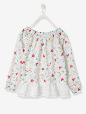 Girl-Shirt, blouse, tunic-Girls' Printed Cotton Voile Blouse