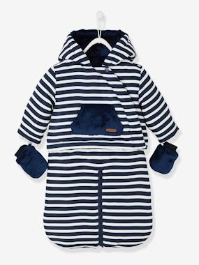 New Collection Fall Winter - Vertbaudet | Quality French Clothes for Babies & Children-Baby-Baby Striped, Padded & Lined All-in-One