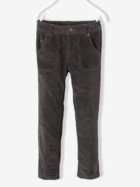bas-NARROW Fit - Boys' Straight Cut Velvet Trousers