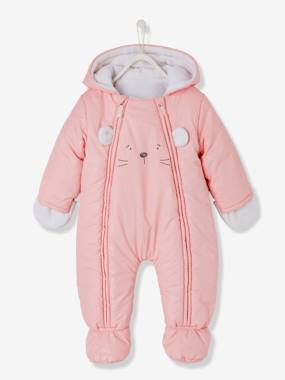 Baby-Coat, all-in-one, sleepbag-Baby Lined & Padded All-in-One with Face Motif