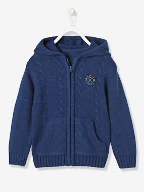 Boy-Boys' Lined Cardigan with Hood