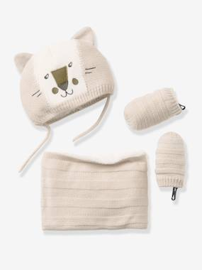 New Collection Fall Winter - Vertbaudet | Quality French Clothes for Babies & Children-Baby Boys' Knitted Beanie, Snood & Mittens Set, Lined