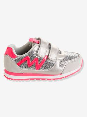 Shoes-Girls Footwear 23-38-Trainers-Girls' Glittery Trainers with Touch 'n' Close Tabs