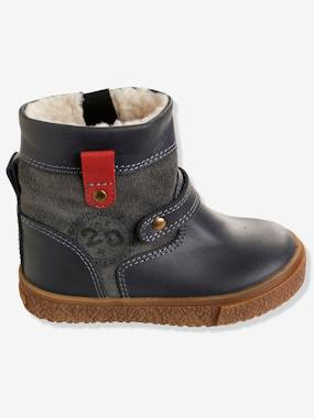 New Collection Fall Winter - Vertbaudet | Quality French Clothes for Babies & Children-Shoes-Boys' Leather Boots with Fur