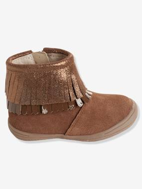 Shoes-Girls' Leather Boots with Fringes