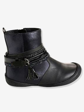 Shoes-Girls' Leather Boots with Stylish Tabs