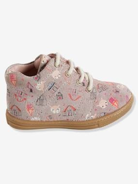 Shoes-Baby Footwear-Baby Girl walking 19-26-Girls' High-Top Printed Leather Trainers