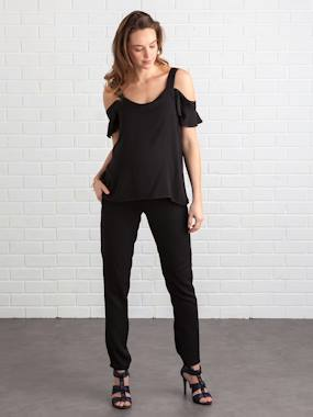 Maternity-Dungaree, playsuit-Loose-Fitting, Off-the-Shoulder Maternity Jumpsuit, Inside Leg 78 cm