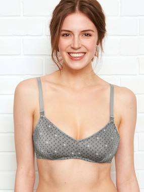 Maternity-Triangle Shape Nursing Bra, Printed Velvet