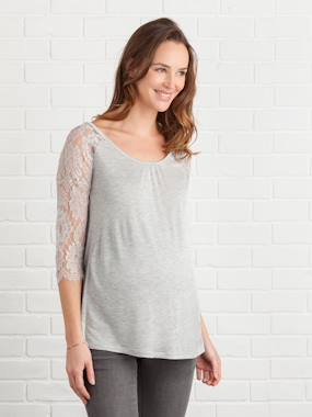 Maternity-T-shirt, top-Long-Sleeved Maternity T-Shirt with Lace