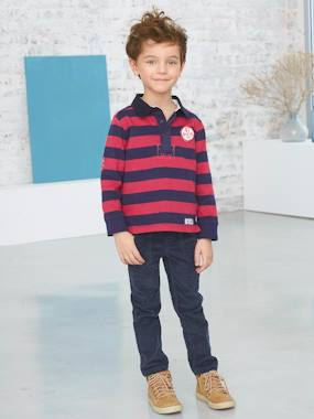 Boy-Boys' Striped Polo Shirt with Long Sleeves