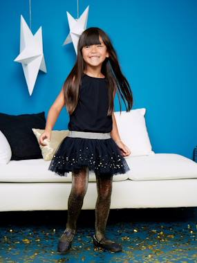 haut-Girls' Sleeveless Tulle & Sequins Dress