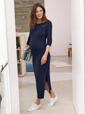 Maternity-Long Maternity Tube Dress, with Slit