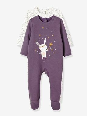 New Collection Fall Winter - Vertbaudet | Quality French Clothes for Babies & Children-Baby-Pack of 2 Baby Fleece Pyjamas, Back Press-Studs