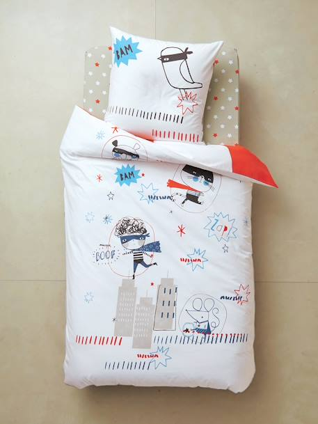 Reversible Duvet Cover & Pillowcase, Superhero Theme White/red - vertbaudet enfant