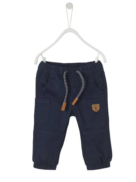 Baby Boys' Lined Chevron Trousers BLUE DARK SOLID+GREY MEDIUM SOLID - vertbaudet enfant
