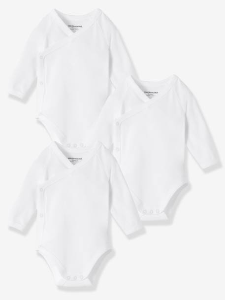 Newborn Baby Pack of 3 Organic Collection Long-Sleeved White Bodysuits White - vertbaudet enfant