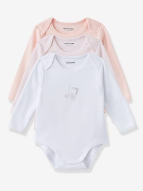 Baby girl clothing 3-36 months, baby girl fashion clothes - Vertbaudet-Baby-Pack of 3 Coloured Pure Cotton Baby Bodysuits with Long Sleeves