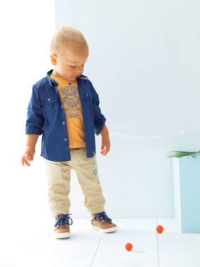 Baby boy clothing 3-36 months, baby boy fashion clothes - Vertbaudet-Baby-Baby Boys Pigmented Shirt
