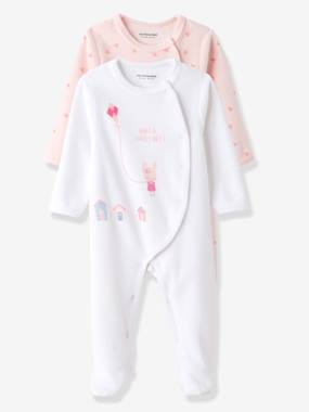 Baby girl clothing 3-36 months, baby girl fashion clothes - Vertbaudet-Baby-Pack of 2 Baby Printed Velour Pyjamas, Front Press-Studs
