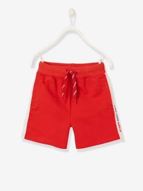 bermuda sport garçon à bandes latérales - rouge
