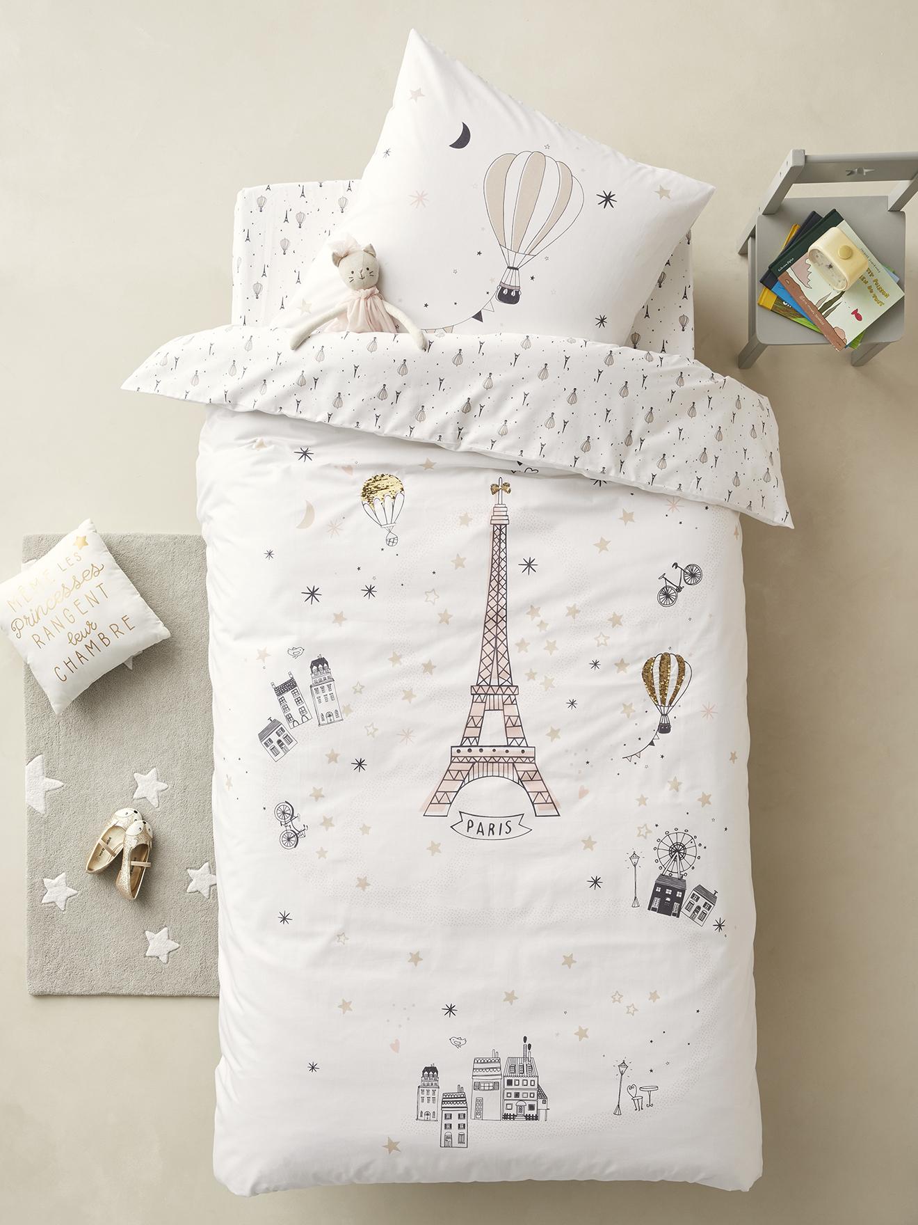 delicate decorative labels.htm duvet cover pillowcase set  paris feerie white light solid with  paris feerie white light