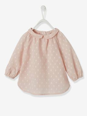 Baby-Blouses & Shirts-Blouse for Baby Girls, Plumetis Effect