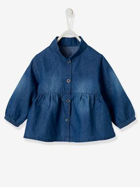 Baby-Blouses & Shirts-Denim Blouse for Baby Girls
