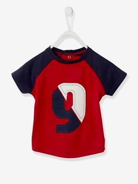 Baby-T-shirts & Roll Neck T-Shirts-Short-Sleeved Three-Tone T-Shirt for Baby Boys