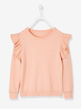 Vertbaudet Collection-Girls-Cardigans, Jumpers & Sweatshirts-Top with Ruffles, for Girls