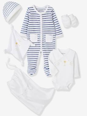 Baby-Outfits-5-Piece Set for Newborns, Striped, with Cat and Bag