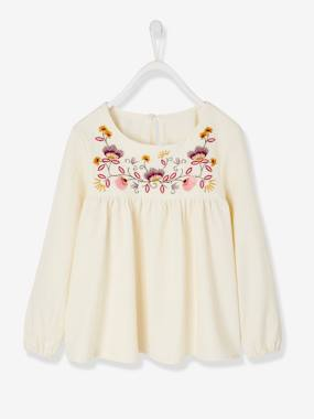Vertbaudet Collection-Girls-Blouses, Shirts & Tunics-Blouse with Embroidered Flowers, for Girls