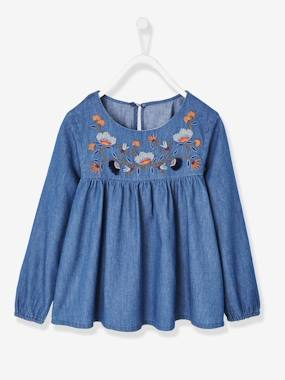 Girls-Blouses, Shirts & Tunics-Embroidered Blouse in Lightweight Denim, for Girls