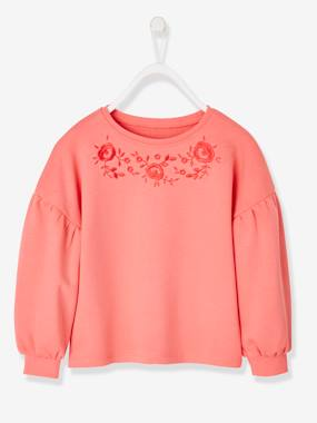 Girls-Cardigans, Jumpers & Sweatshirts-Sweatshirts & Hoodies-Sweatshirt Embroidered with Flowers, for Girls